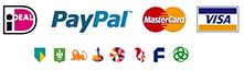 iDEAL, PayPal, Mastercard, Visa, Klarna